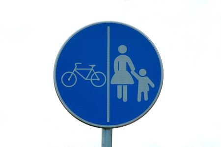 Isolated traffic sing - cycling and pedestrians photo