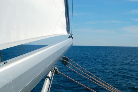 deepsea: Sailing detail - mast pointing at open sea