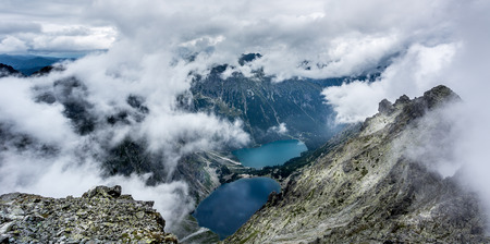evaporation: Evaporation of water from mountain lakes high in the mountains. Stock Photo