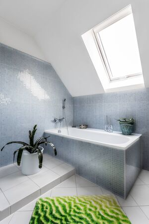 Bathroom corner in attic with bath, carpet, plants and roof window. Bath is equipped with modern stainless steel faucet. There can be seen a decorative accessories and walls are lined with blue tiles.