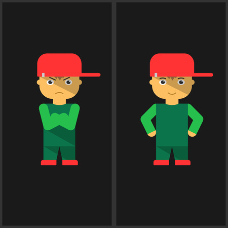 character traits: Boy wearing a cap, cartoon, vector illustration Illustration