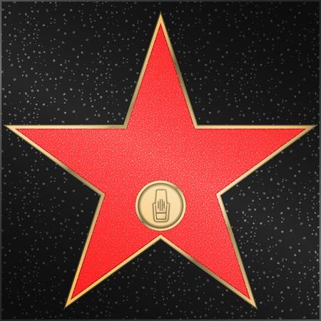 유명한 명예의 전당 - 스타, 라디오, 마이크, 벡터 일러스트