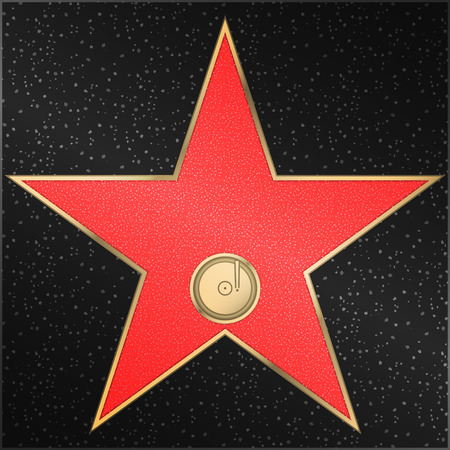 Famous walk of fame - Star, phonograph, record, vector Illustration