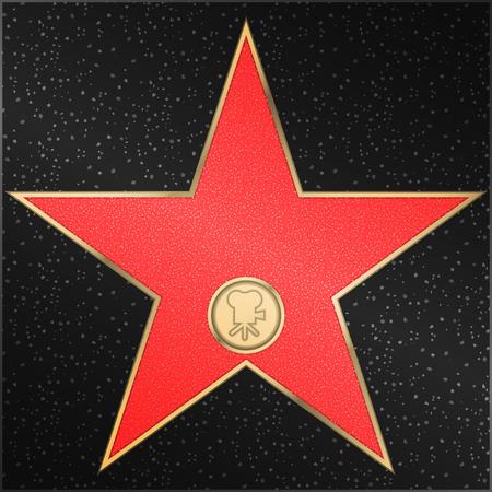 caminar: conocido paseo de la fama - Estrella, clásico, película, cámara, vector
