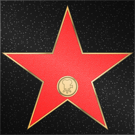 Famous walk of fame - Star, classic, film, camera, vector