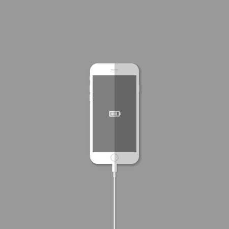 recharge:   Recharge phone battery illustration  Illustration