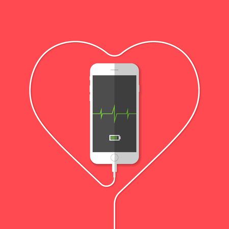 Phone showing heartbeat sensor . Vector illustration  Ilustração