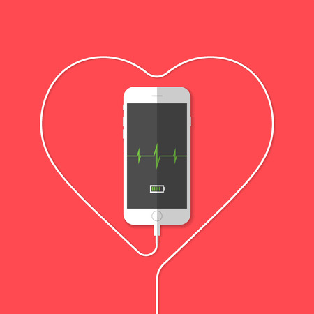 wire:   Phone showing heartbeat sensor . Vector illustration  Illustration
