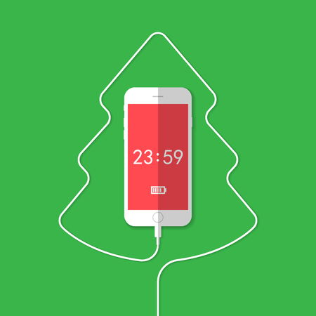 phone cord:    Phone showing Christmas Tree . Vector illustration