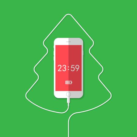 Teléfono que muestra el árbol de navidad. Ilustración vectorial