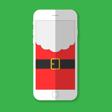 claus: Phone with the image of Santa Claus with shadow on a green background Illustration