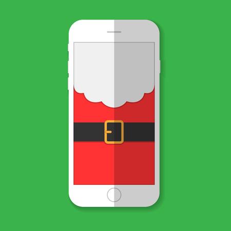 telefono caricatura: Tel�fono con la imagen de Santa Claus con sombra sobre un fondo verde