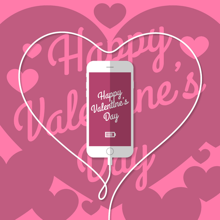 wire: Phone. The wire is bent in a heart. Vector.