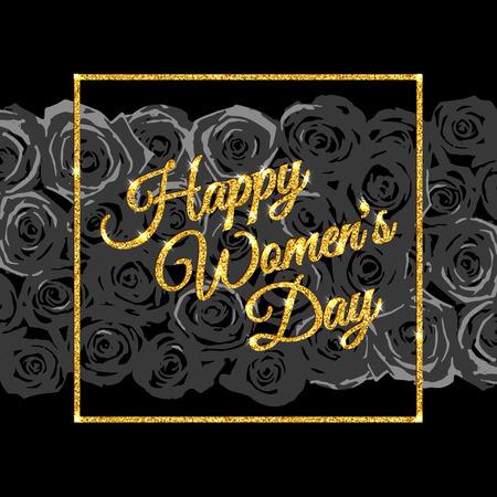 rich girl: Inscription Happy Womens Day. Gold glitter. Illustration