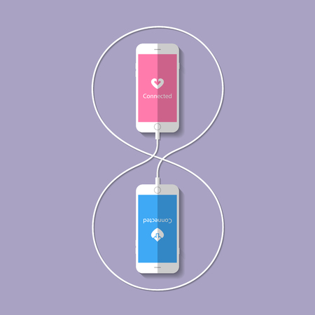 them: Two smartphone connected to a wire between them. Vector
