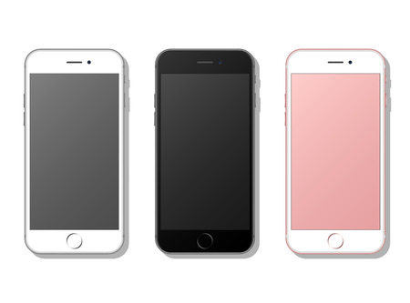 phone isolated: Three realistic mobile phone, smartphone. Isolated on white background with shadows. Vector illustration.