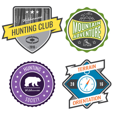 expeditions: Set badges mountain expeditions and hunting emblem logo.