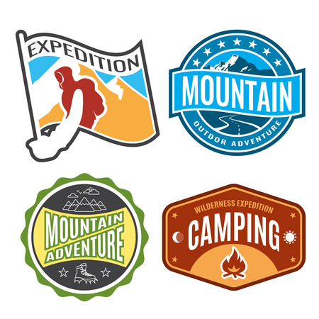 expeditions: Set badges mountain expeditions and logo emblem adventure outdoors.