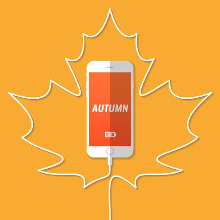 The smartphone is charging. The wire in the form of a silhouette of the maple leaf. Autumn. Vector