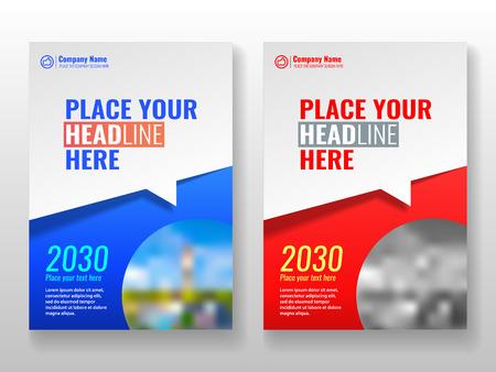 Plantilla de portada para libros, revistas, folletos, presentaciones corporativas, informes anuales, carteles, carteras, sitios web de banners, etc. Formato azul y rojo A4