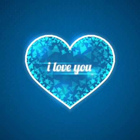 shards: Abstract blue heart. Inscription I love you. Triangular shards.