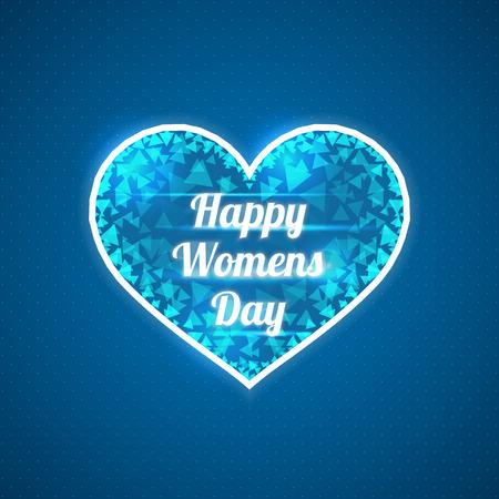 shards: Abstract blue heart. Happy Womens Day. Triangular shards.