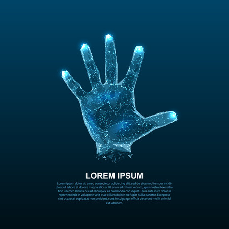 Hologram hands of lines and points. Scanning fingers. Personal identification. Vectores