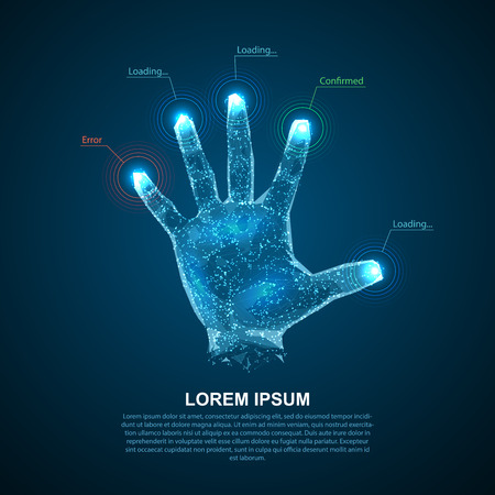 Hologram hands of lines and points. Scanning fingers. Personal identification. Illustration