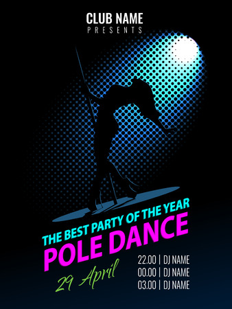 Pole Dance. Party Poster Template. Night Dance Party flyer. Illustration