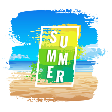 Summer banner, tropical beach, color frame.