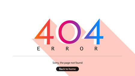 Error 404. Sorry, the page not found. Back to home. Ilustração
