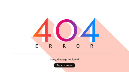 Error 404. Sorry, the page not found. Back to home. Illustration