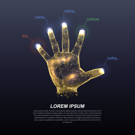 Hologram hands of lines and points. Scanning fingers. Personal identification. Ilustrace