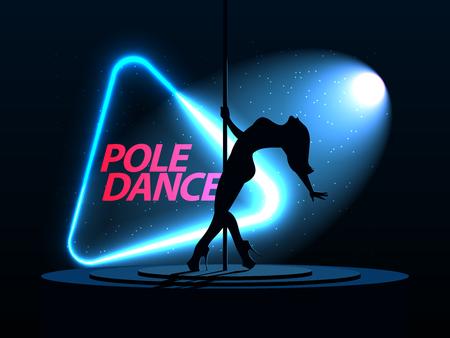Pole Dance. Silhouette eines Mädchens. Neon Dreieck. Ein gerichteter Lichtstrahl vom Suchscheinwerfer scheint. Erotisches Tanzen. Vektorillustration Vektorgrafik