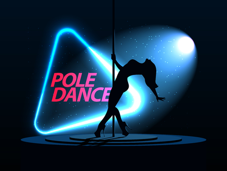 Pole Dance. Silhouette of a girl. Neon triangle. A directional beam of light from the searchlight is shining. Erotic dancing. Vector illustration
