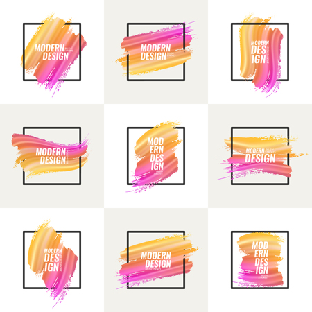 Collection of multicolor banners. A set of elements for postcards, flyers, covers. Yellow, orange, red, pink, purple paint strokes on a white background with a frame. Stock Vector - 115048844