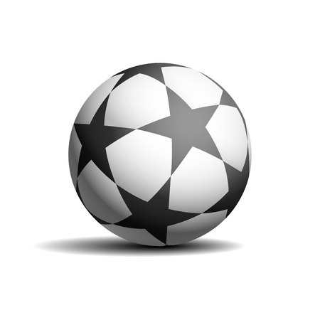 Realistic soccer ball with black stars, isolated on white background. Shadow and light. Vector illustration.
