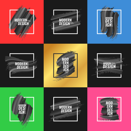 A collection of elements for banners, postcards, posters, flyers, covers, with black brush strokes on different background colors. Vector illustration. Illustration