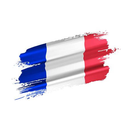 Drapeau français créé à partir de coups de pinceau volumineux, isolés sur fond blanc. Illustration vectorielle.