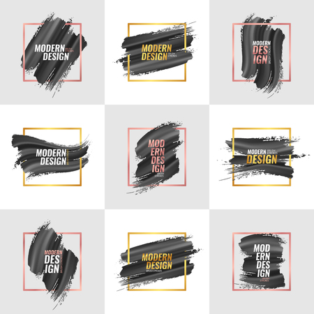 A set of elements for the design of advertising banners, covers, flyers, postcards with volumetric brush strokes with black paint and square frames. Rose gold and yellow gold. Text. Vector.