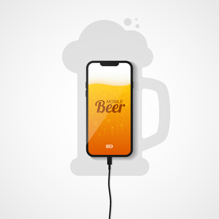 The smartphone lies on the plane connected to the charger. Silhouette of a mug of beer. The phones screen shows a light beer with bubbles of gas and foam. Vector illustration.