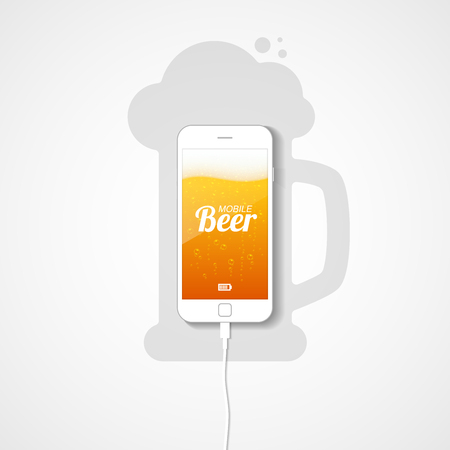 The smartphone lies on the plane connected to the charger. Silhouette of a mug of beer. The phone's screen shows a light beer with bubbles of gas and foam. Vector illustration. 向量圖像