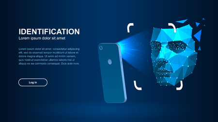 Identification of a person through the system of recognition of a human face. The smartphone scans a persons face forming a polygonal mesh consisting of lines and dots. Vector illustration. Illustration