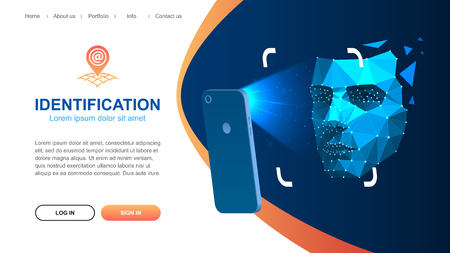 Website page layout. Identification of a person through the system of recognition of a human face. The smartphone scans the persons face. Vector illustration. Ilustração