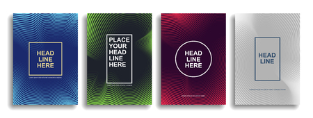 Collection of design of minimal covers with smooth lines forming a gradient. Vector background. Eps10 Illustration