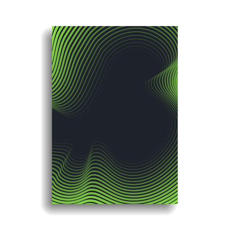 Design of a minimal cover for books, magazines, brochures, flyers with wavy lines forming a gradient. Vector background. Eps10 Stock Vector - 112229694