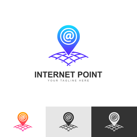 Logo, icon or sign. A pointer to the location of the network address on the world map grid. Isolated on white background. Vector illustration Eps10 Illustration