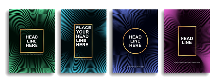 Collection of design of minimal covers with smooth lines forming a gradient. Background for the presentation, brochure, catalog, poster, book, magazine, etc. Vector illustration Eps10
