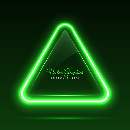 The glass banner is triangular in shape. Transparent billboard with neon lights. Vector illustration.