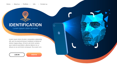 Website page layout. Identification of a person through the system of recognition of a human face. The smartphone scans the persons face. Vector illustration Eps10